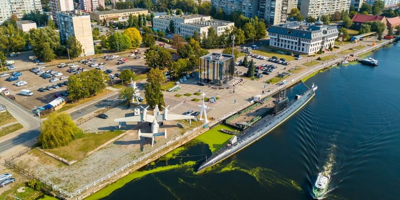 Russia, Kaliningrad – September 21, 2018: Embankment with moored